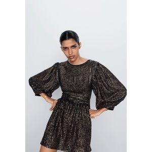 ZARA Special Edition NWT Gold Sequin Black Dress